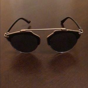 Black and silver retro sunglasses